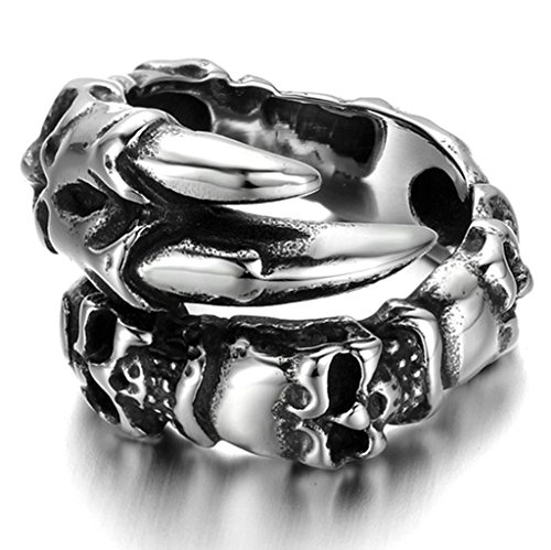 Stainless Steel Ring for Men, Claw Skull Ring Gothic Silver Band 19MM Size 10 Epinki
