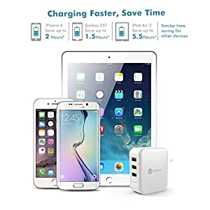 iClever BoostCube 36W 3-Port USB Wall Charger with Foldable Plug (SmartID Tech) for iPhone, iPad, Galaxy, LG, Nexus, HTC and More