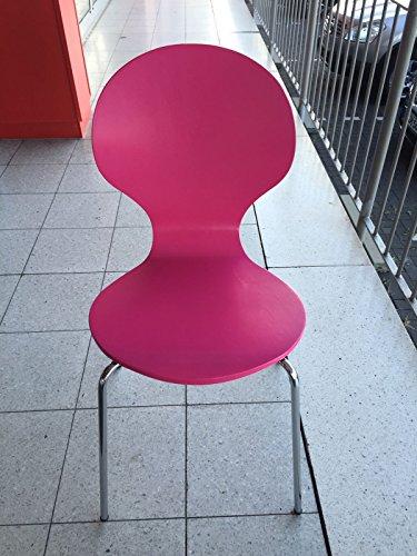 Stuhl-stapelbar-Design-Klassiker-Metall-Holz-sehr-belastbar-Magenta-rosa-pink