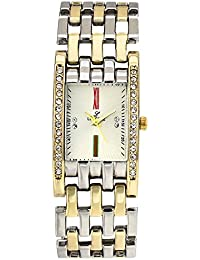 LUCERNE Analogue Off White Color Dial And Gold Silver Color Metal Strap Watch . Christmas And New Year Sale.