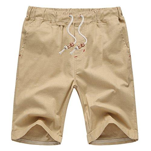 Aiyino Mens Linen Casual Classic Fit short US Medium Khaki Medium Casual Shorts