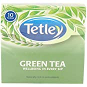 Tetley Green Tea, Regular, 10 Tea Bags