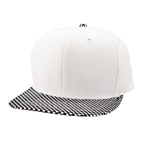 Top Level Snapback Satin Checkered Print Brim Unisex Flatbill Hat - White/Black (White Satin Top Hat)