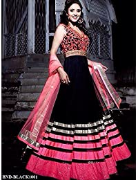 London Beauty New Black & Pink Designer Embroidered Anarkali Suit