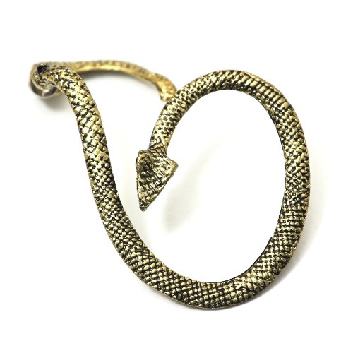 Serpent Earring Ear Cuff Metal Wrap Gold Tone Exotic Snake Leviathan Fashion Jewelry