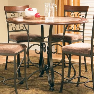 Steve Silver Thompson Round Metal Counter Table w/ Faux Marble Inlay