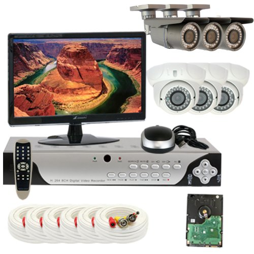 Gw Security Inc 6Che4 8 Channel H.264 960H & D1 Realtime Dvr With 6 X Effio Ccd 700 Tv Lines Varifocal Lens Security Camera System Free Led (White/Black)