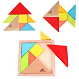 Elloapic 7 Piece Children Educational Toy Colorful Wooden Brain Training Geometry Tangram Puzzle + one small gift