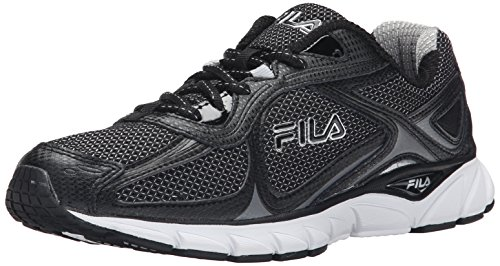 Fila Men's Quadrix Running Shoe, Black/Black/Metallic Silver, 8 M US