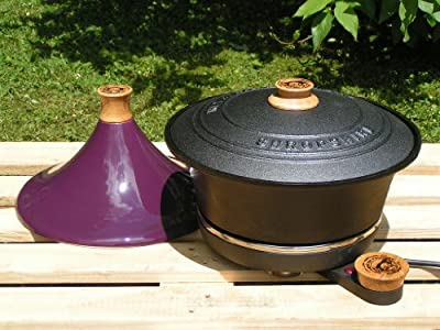 Cast Iron Slow Cooker With Purple Tagine Lid by Netherton Foundry Shropshire
