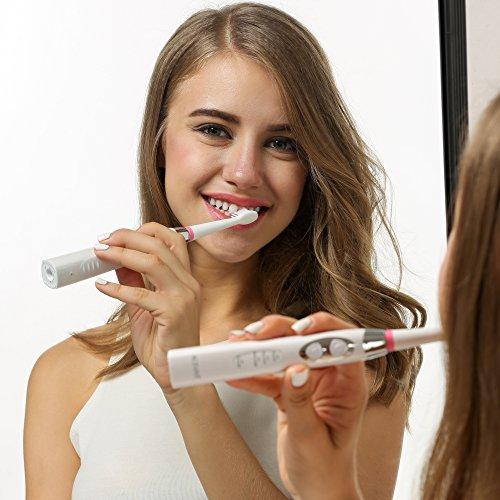 ACEVIVI SG-917 Elektrische Zahnbürste Schallzahnbürste Elektrozahnbürste Electric Toothbrush mit Schalltechnologie Tiefenreinigung Wiederaufladbar, 2 Minuten Timer, 3 Reinigungs-Modi, 3 Aufsteckbürsten Bürstenköpfe Weiß -