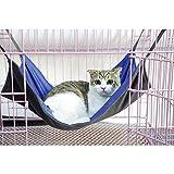 Namsan Pet Cage Hammock,Cat Crib,Kitten Hanging Hammock Bed,2 in 1 Summer&Winter,Waterproof Oxford Fabric,Blue-L