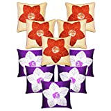 Laser Cut Flower Cushion Covers Combo Beige & Purple 40 X 40 Cms(10 Pcs Set)