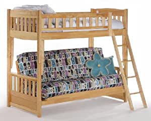 Newport Twin over Futon Bunk Bed plus Understorage Unit with Natural Finish