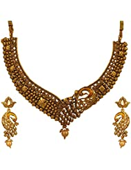 Graykart Meenakari Golden Colour Peacock Design Jewellery Set