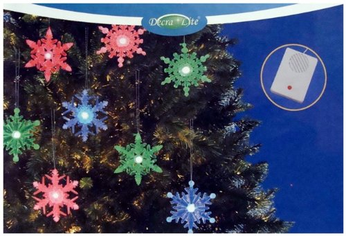 Set Of 8 Green, Red And Blue Led Lighted Musical Snowflake Christmas Ornaments