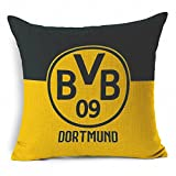 E-sunshinexAE Thick Cotton Blend Linen Square Throw Pillow Cover Decorative Cushion Case Pillow Case 18 X 18 Inches / 45 X 45 cm, New Football Club Badge (Dortmund)