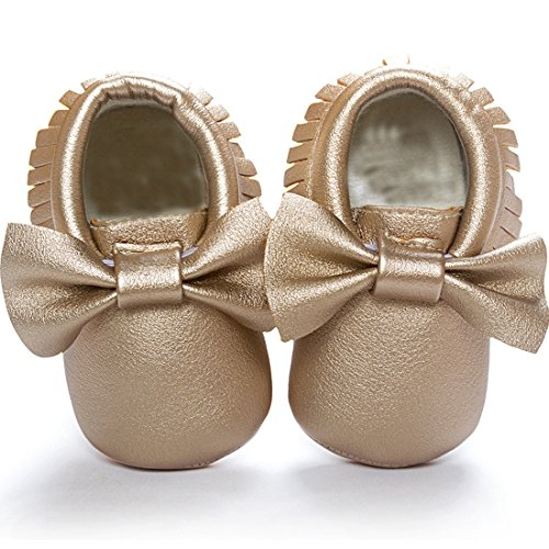 Bow Leather Baby Moccasins for Boy Girl Infant Toddler Pre-walker Crib Shoes (S(4.9