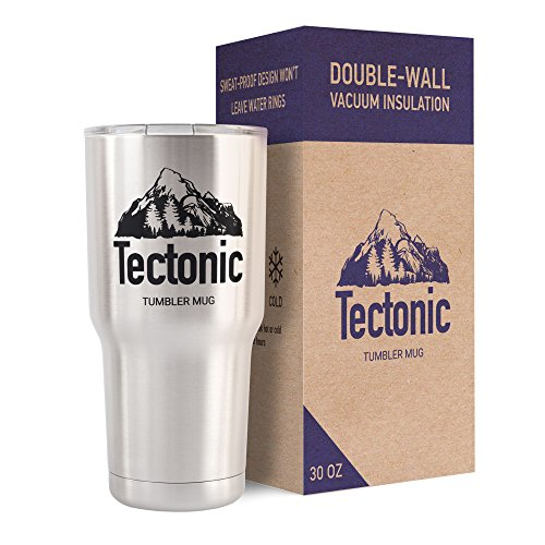 Double Wall Vacuum Insulated Stainless Steel Tumbler with Lid, 30 oz. - Premium Thermos & Cooler in NEW Stylish Design- Best for Travelling and Every Day Using - Durable Mug by Tectonic (Individual Drink Cooler compare prices)
