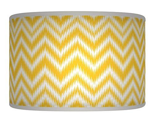 20cm-8-chevron-yellow-mustard-white-retro-handmade-geometric-giclee-style-printed-fabric-lamp-drum-l