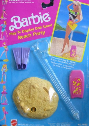 Barbie Beach Party Play 'N Display Doll Stand & Access. (1991 Arco Toys, Mattel)