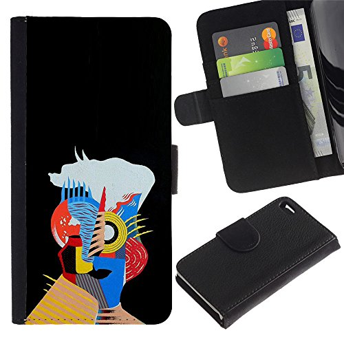 WonderWall Wallpaper Fancy Picture Image Wallet Flip Leather Pouch Card Slots Black Hard Case Cover Protection For Apple Iphone 4 / 4S - a hip, colorful world make your face