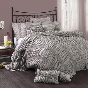 Lush Decor Madelynn 3-Piece Comforter Set, King, Gray
