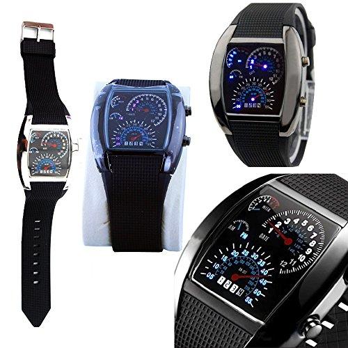 Coffled® Blue & White Flash Led Watch Brand New Gift Sports Car Meter Dial Men /Blue Light/Black