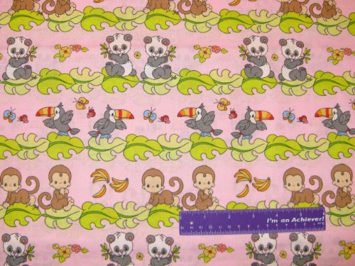 """43"""" Wide Precious Moments Panda Stripe Pink Cotton Fabric By The Half Yard front-808360"""
