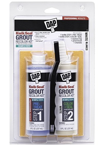 Dap Kwik Seal WHITE Grout: Brand new grout in 3 Quick & Easy Steps! Clean, Seal & Recolor! 3-in-1 kit Includes: (1) Tube Pre-Treat, 1 Tube Color & Seal, (1) Squeeze Top, (1) Brush, (1) Chamois (Dap Kwik Seal Grout Recolor Kit compare prices)