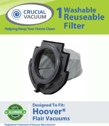 1 Hoover Flair Washable & Reusable Replacement Filter Fits Hoover Flair Primary Stick Vacuum Cleaner; Fits Hoover Flair Vacuum Cleaner S2200, S2220, S2201; Compare To Part # 59136055; Designed & Engineered By Crucial Vacuum front-4334