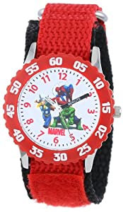 Marvel Comics Kids' W000143 Hulk, Spider-Man & Thor Stainless Steel Time Teacher Watch