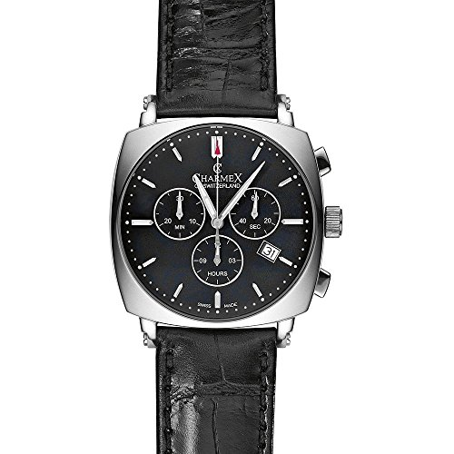 Charmex Vintage 2426 40x40mm Stainless Steel Case Black Calfskin Synthetic Sapphire Men's Watch