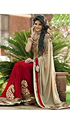 Shree fashion women's Top Fabrics semi stitched red GEORGETTE saree