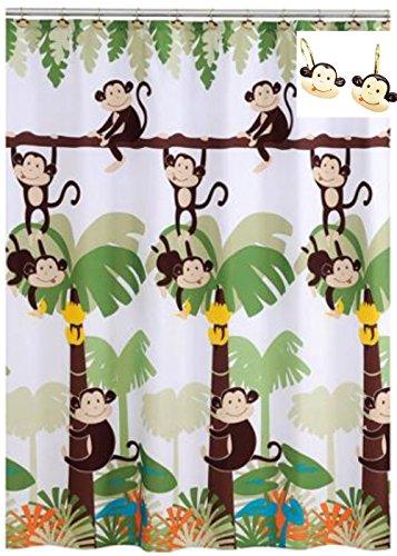 Monkey Bathroom Decor - Monkey Shower Curtain with 12 Shower Hooks