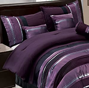 7 pc modern purple black silver chenille comforter set bed in a bag queen size. Black Bedroom Furniture Sets. Home Design Ideas
