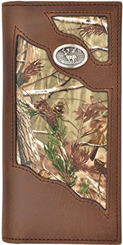 Mens Real Tree Leather Wallet Deer Concho Hunting Checkbook Style - BW452rw