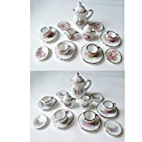 34pcs ドールハウス ミニチュア 家具 小物 食器 ティーカップ 1/12 スケール 陶器 花柄 2種類 牡丹の花 & 紫のお花 各17個×2種類セット