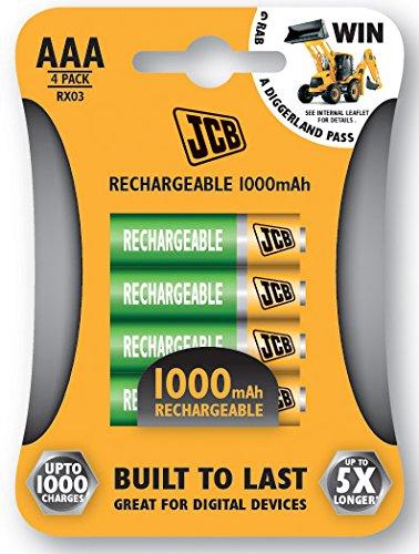 JCB Les piles rechargeables AAA 1000mAh 4 pièces
