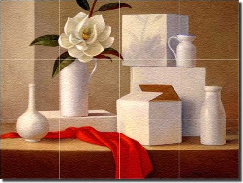 Arrangement with Magnolia by Frances Poole - Floral Glass Tile Wall Floor Mural 18