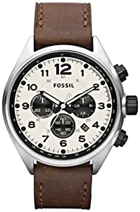 Buy Fossil CH2835 Flight Leather Watch, Brown by Fossil
