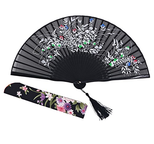 Amajiji® Chinese Japanese Folding Hand Fan for women,Vintage Retro Style 8.27