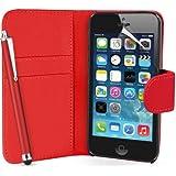Supergets Hülle für Apple iPhone 5 Buch-Stil Imitat Leder Tasche in Rot Brieftasche Etui Schale Case, Eingabestift, Schutzfolie