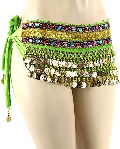Green Gold Coins Velvet Rave EDC Belly Dance Skirt Hip Scarf Costume 193 coins