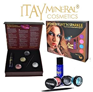 "Itay Mineral Cosmetics Dazzling Cosmetic Glitters ""Shine Bright'n Sparkle -Ruby Set Include Glitter Glue - Itay Sparkle Bond"