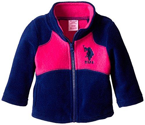 US Polo Association Baby-Girls Mock Neck Polar Fleece Jacket, Navy/Fuchsia, 6-9