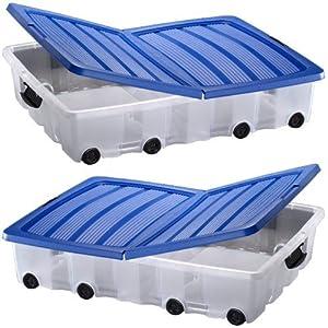 Oxid7 Lot de 2 caisses de rangement à roulettes à glisser sous le