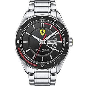 Scuderia Ferrari Watches Men's Gran Premio Black Dial Watch In Silver Steel