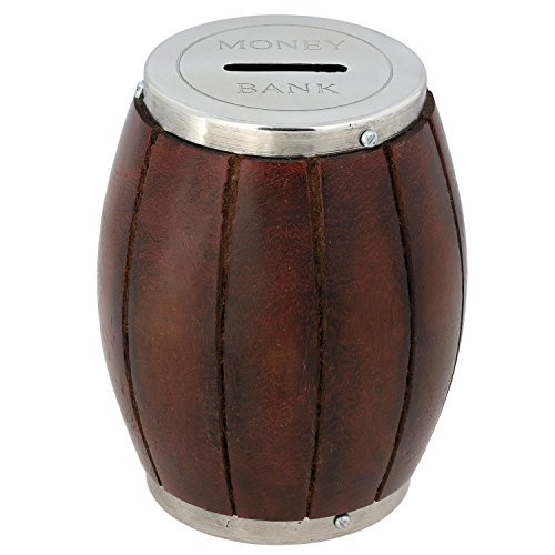 Wooden money bank barrel coin handmade money box for Decorative piggy banks for adults