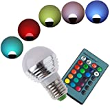 RONSHIN E26 E27 AC85-265V RGB Multi-color Change Globe LED Light Bulb +24 Key Remote Controller Magic Lighting... by RONSHIN